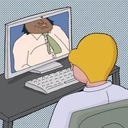 two men talking online - stock illustration