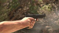 Black Handgun Shooting Self Defence Training Practice Protection Stock Footage