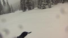 POV skier crashes very close to tree Stock Footage