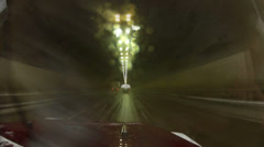 During rain driving through a tunnel with wipers on Stock Footage