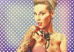 Pin-Up girl with tattoos Stock Photos