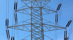 High voltage power lines on tower Stock Footage