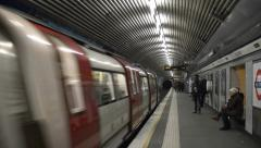4K London Underground train arrival Stock Footage