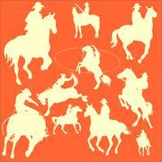Cowboys Vector Digital Clipart Piirros