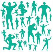 Body Builder Vector Digital Clipart - stock illustration