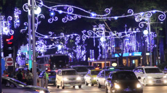 Singapore Christmas - a close shot of the orchard lights and street traffic Stock Footage