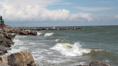 Beginning of gale on a sea, sounds of marine surf - stock footage