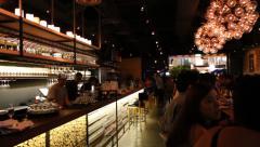 night life scene at wine bar in robertson's quay - stock footage