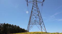 High voltage transmission tower spring jonquils Stock Footage