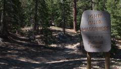 John Muir Wilderness sign - Medium close up Stock Footage