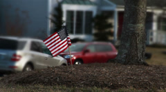 American Flag in Front Yard of House Stock Footage