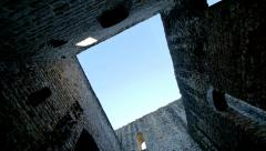 Old castle ruin. silhouette shadow. light and darkness. Stock Footage