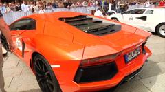 Lamborghini parking at car show - stock footage