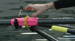 Rower getting off his boat during training - stock footage