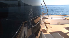 Sofa and table on main deck of luxury yacht  - stock footage
