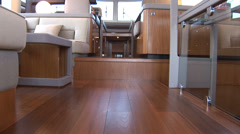 Living room of luxury yacht, with view of the cockpit  Stock Footage