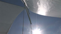 View of the sails of a sailing boat - stock footage