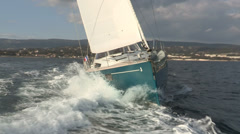 Frontal view of sailing boat - stock footage