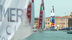 America's cup boats docked in Venice Stock Footage