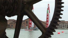 Luna Rossa in Venice during America's cup world series Stock Footage