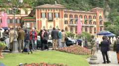 People attending the Concorso d'Eleganza at Villa d'Este, Cernobbio, Italy Stock Footage