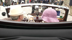 Owners of old classic BMW at the Concorso d'Eleganza at Villa d'Este, Cernobbio Stock Footage