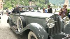 Old classic car at the Concorso d'Eleganza at Villa d'Este, Cernobbio, Italy - stock footage