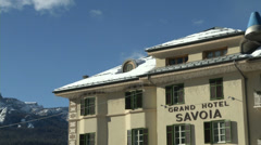 Grand Hotel Savoia in Cortina d'Ampezzo Stock Footage