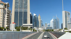 Dubai metropolis Skyline modern Skyscraper high-rise building Traffic UAE Stock Footage