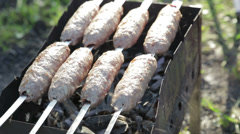Cooking lamb kebab, healthy outdoor picnic Stock Footage