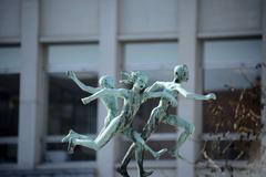 Statue of running Children in Antwerp, Belgium. Stock Photos