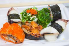 japanese seafood sushi styrofoam - stock photo