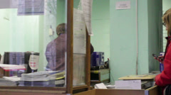 Queue at the post office Stock Footage