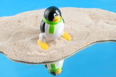 Global warming, Penguin - stock photo