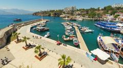Timelapse of marine traffic activity in old harbor in Antalya, Turkey - stock footage