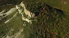 Aerial View: Besh-Kosh mountain, near Bakhchisaray. Crimea. Autumn 2013 Stock Footage
