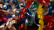 Stock Video Footage of Colorful Shiny Ribbon Close Up