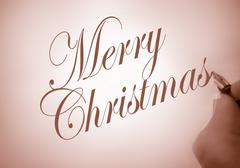 callligraphy merry christmas - stock photo