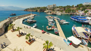 Stock Video Footage of 4K. Timelapse of marine traffic activity in old harbor in Antalya, Turkey