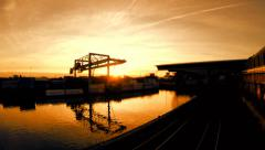 railway railroad track. industrial pier at sunset. global logistics - stock footage