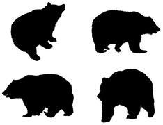 Detailed bear's silhouettes Stock Illustration