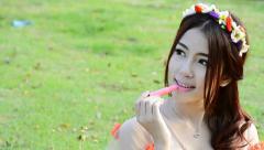 cute asian woman fashion model portrait (slow motion) - stock footage