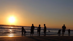 Medium golden hour sunset at legian beach Stock Footage