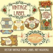 Label art nouveau - stock illustration