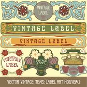 Label art nouveau - stock illustration