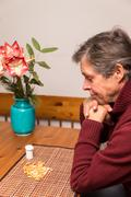 Close up of a man with medications Stock Photos
