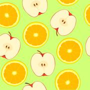 Apple and orange, seamless pattern Stock Illustration