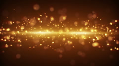 Gold light stripe and particles loopable background Stock Footage