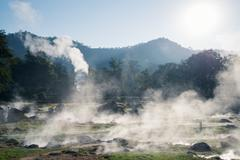 fang hot spring national park is part of doi pha hom pok national park in chi - stock photo