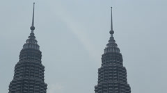 An unobstructed closeup view of the Petronas towers from the traders  skybar Stock Footage